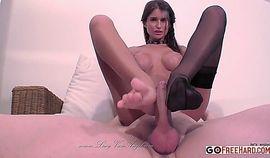 Nessa Devil Black Nylon Footjob;