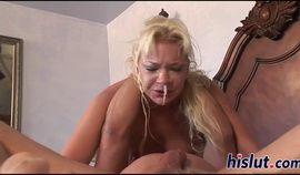 Lusty Heidi deepthroats a monster meat pole
