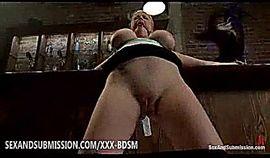 Bondage busty blonde babe enjoys sex in a cafe