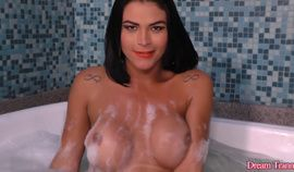 Sexy Tranny Agatha Melo Emerges from Her Bubble Bath to Display Her Hot Body