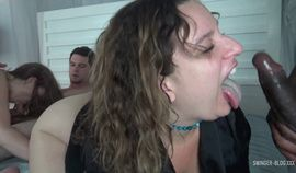 Amateur couples enjoying blowjobs and fucking in interracial swing party