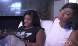 Two hot black BBWs share black cock in a threesome