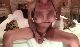 Naughty amateur blonde shemale filling condom 5