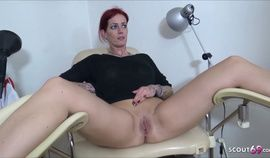 Doctor Seduce German Redhead Mature to Threesome at Practice