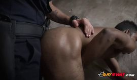 Black thug is caught and taken for a hard banging by gay officers
