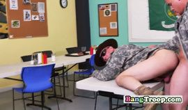 Gay soldier students engage in hot sex with horny teacher