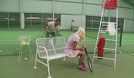Tennis instructor fucks blonde