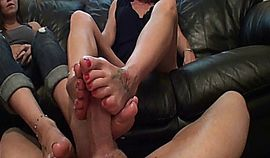 Mom & Daughter Footjob