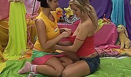 Hot busty young lesbians toy twats