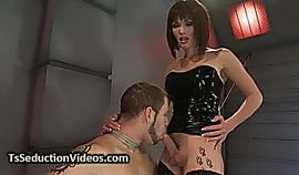 Tranny anal fucks tied up guy and cums