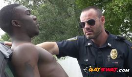 Black thug fucks gay police officer in lonely alley