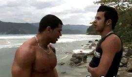 Hunk Fucks Horny Latino beside the Beach