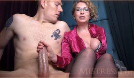 Horny mature slut Mistress T gives Handjob