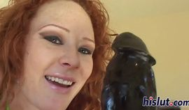 Freckled ginger honey rides on thick members