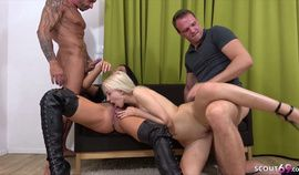 German Wife and Mistress in Rough Anal DP Foursome GroupSex