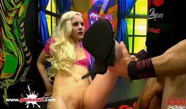 Skinny Blonde Ashlee Cox swallows sperm - German Goo Girls