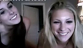 Two real hot college girls play with perfect boobs