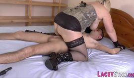 Brit granny domina rides and gets ass banged