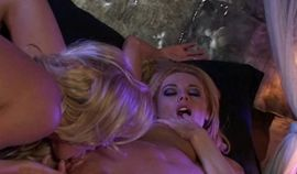 Two smoking hot lesbian babes fucking each other with a dildo