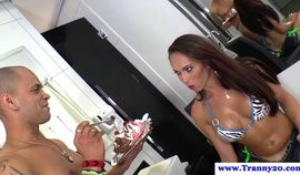 Busty tranny fed and assfucked