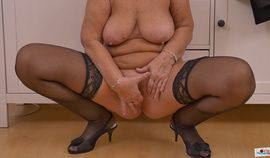 Blonde Granny Strips and Fingers Snatch