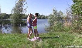 Lesbian teens pleasing pussies at the lake