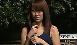 Subtitles ENF Japan schoolgirl reporter swimsuit strip