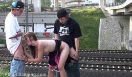 Craziest PUBLIC gangbang orgy cute teen