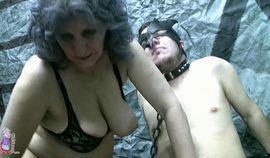 Old granny Clara in a BDSM FFM Threesome