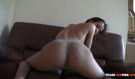 Aroused brunette babe masturbates while wearing pantyhose