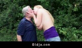 Study big jugged girl blowing horny oldman