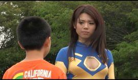 Sexy Asian superheroine in action