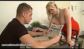 Alice, busty BBW beauty fucked after her boy read the news