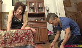 Hungarian granny Celeste fucks a young buck