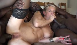 French MILF Mia Wallace and hard interracial double anal