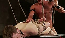 Rope bondage gay hairy ass fucked