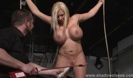 Busty slave Melanie Moons electro tortures and strict german bdsm punishment