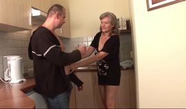 Hungarian Granny Aliz gets fuckec in the kitchen