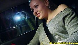 Hitching blonde teen grabs drivers cock