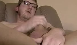 Chubby amateur wears glasses for solo jerk off
