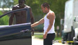 Dangerous bike rider is taken to locker room by horny gay officers