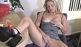 Sexy blonde masturbates with her toy