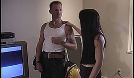 Gothic slut gives blowjob to the repairman