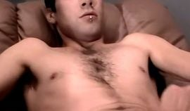 Skinny young amateur solo masturbates his cock and spits cum