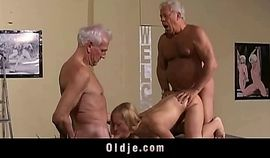 Horny blonde fucking two old farts