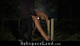 Slim tall girl humiliated and rough pained in the woods