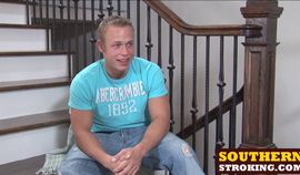 Muscular and fit Corbin Case jerking cock on the stairs