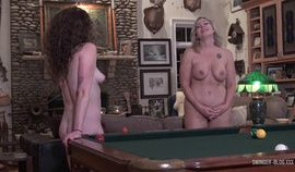 Amateur wives licking and masturbating on the pool table