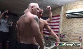 Gay stud soldiers seduce other into steamy orgy at their room