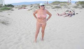 Russian Granny Flashing On Vacation
